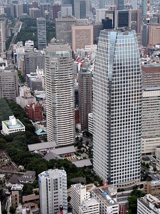 Atago Green Hills - Forest Tower (left) and MORI Tower (right) viewed from Tokyo Tower.