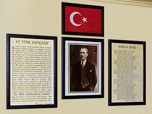 National anthem - Schoolroom in Turkey with the words of the İstiklâl Marşı