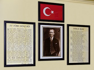"National anthem - Schoolroom in Turkey with the words of the ""İstiklâl Marşı"""