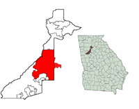 Location of Atlanta's city limits (left) and location of Atlanta in Georgia (right)