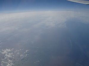 The Atlantic Ocean as seen from the airplane