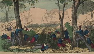 First Regiment Massachusetts Volunteer Infantry - Image: Attack on the batteries at Bull Run by three companies of the First Massachusetts Regiment, Lieutenant Colonel Welles, commanding