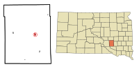 Aurora County South Dakota Incorporated and Unincorporated areas Plankinton Highlighted.svg