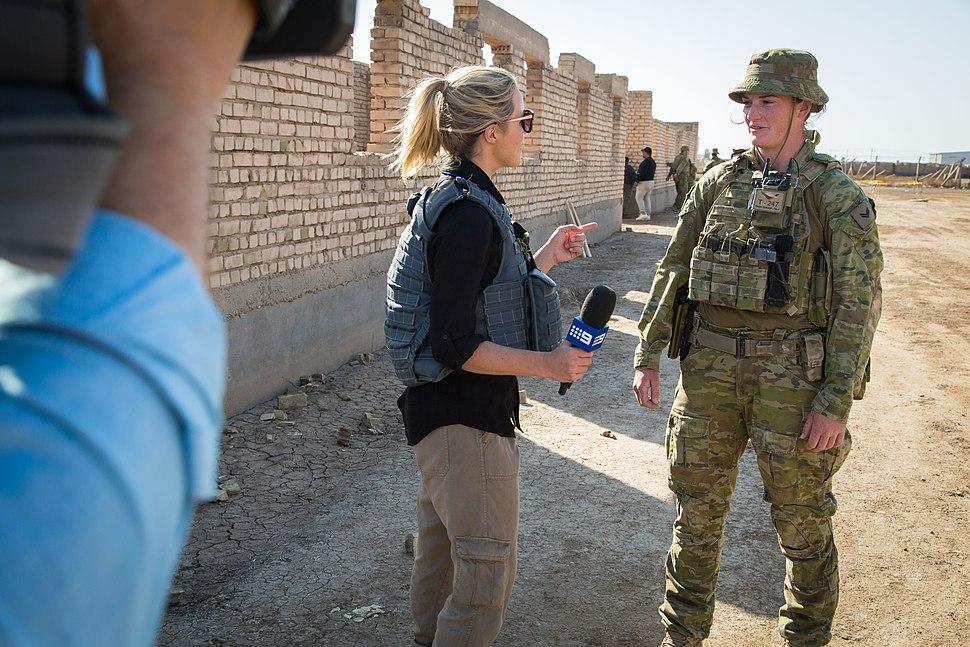 Australian media interviews an Australian army trainer at Camp Taji, Iraq, Feb. 26, 2017