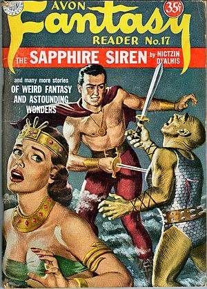 "Nictzin Dyalhis - Cover of the fantasy fiction magazine Avon Fantasy Reader no. 17 (1951) featuring ""The Sapphire Siren"" by Nictzin Dyalhis."