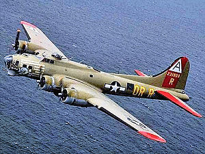 91st Bombardment Group - Nine-O-Nine, 323rd BS B-17G, displaying 1st Combat Bomb Wing tail markings