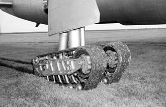 Experimental tracked gear on a B-36 Peacemaker B-36 tracked gear edit.jpg