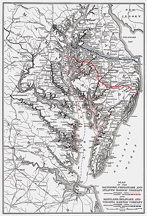 Baltimore, Chesapeake and Atlantic Railway - Image: BC&A MD&V 1906 Map
