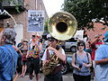 BP Dead Pelicans Julia St Save the Gulf Sousaphone.JPG