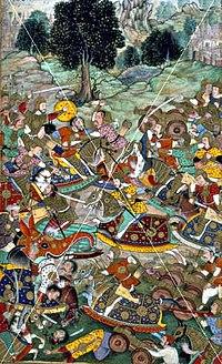 Babur's army in battle against the army of Rana Sanga at.jpg