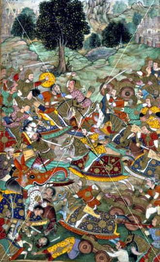 Battle of Khanwa - Mughal painting depicting the Rajput Army (Left) armed against Mughal Army (Right)