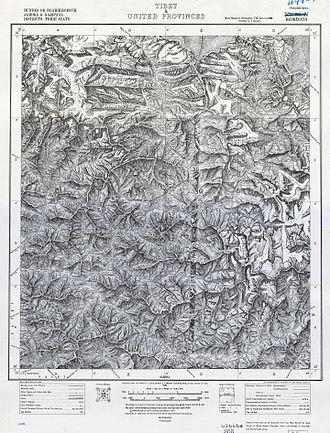 Shipton–Tilman Nanda Devi expeditions - Survey of India map of Badrinath, 1882. (Nanda Devi middle right).