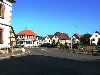 Baldenheim - Middle of the village and its half-timbered houses.