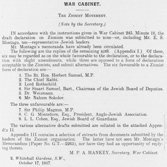 Balfour Declaration War Cabinet minutes appendix 17 October 1917