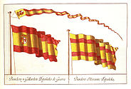 The flags chosen by Charles III in 1785 as War and Merchant ensigns