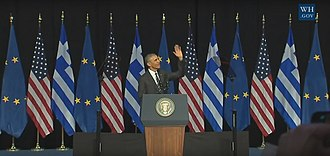 Greece–United States relations - President Barack Obama in Athens, 2016