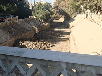 Water management in Greater Damascus - Barada river at the end of the dry season