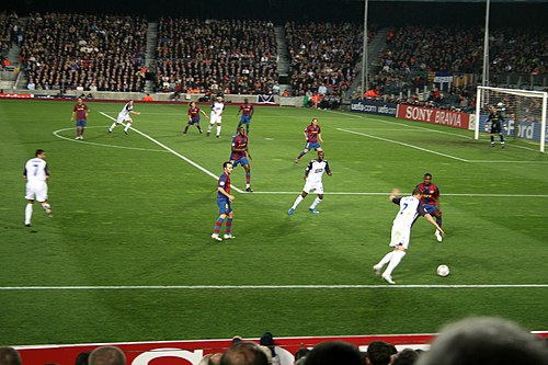 Rangers playing Barcelona at the Camp Nou in the 2007-08 Champions League Barcelona vs Rangers 2.jpg