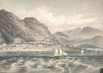 Barmouth - Barmouth, with Cader Idris in the background, 1865.