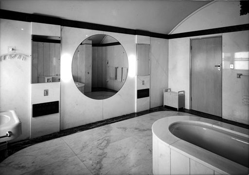 Bathroom of Mr T.A. Field, Turramurra, Sydney, 193- - photographer Sam Hood (8201091959) art deco bathroom