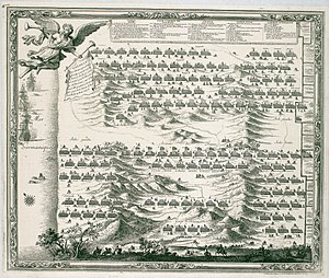 Battle of the Dunes (1658) - Battle of the Dunes 1658 - 1698 engraving by Sebastian Beaulieu, showing the Spanish deployment at top and French below.