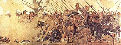 The battle of Issus, between Alexander the Great on horseback to the left, and Darius III in the chariot to the right, represented in a Pompeii mosaic dated first century BCE - National Museum of Archaeology in Naples