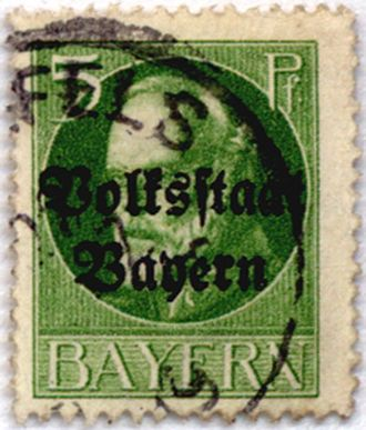 People's State of Bavaria - Postage stamp of Bavaria's King Ludwig III with the overprint Volksstaat Bayern (People's State of Bavaria)