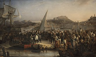 Hundred Days - Napoleon leaving Elba, painted by Joseph Beaume