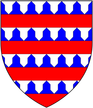 Sir Hugh Luttrell - Arms of Beaumont of Shirwell: Barry of six vair and gules