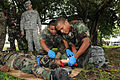 Belize Defence Force combat medics, Cpl. Paul Shal and Lance Cpl. Leon Lopez, right, treat a mock wounded leg, of a casualty, in front of Belize Defence Force and U.S. Army observers and instructors, during 100830-A-CL600-044.jpg