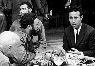 Castro with Ahmed Ben Bella, principal leader of the Algerian War of Independence against French colonial rule; Ben Bella was one of many political figures inspired by Castro Ben Bella a la Havane - Cuba.jpg