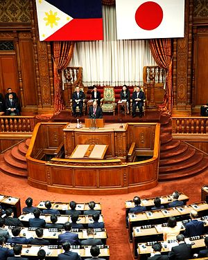 Japan–Philippines relations - Philippine President Benigno Aquino III addresses a joint session of the National Diet in Tokyo, 3 June 2015