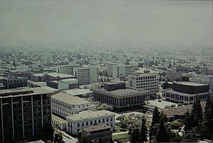 Southside, Berkeley, California - This 1978 view over the neighborhood shows Sproul Plaza and the Unit 3 dormitory complex.