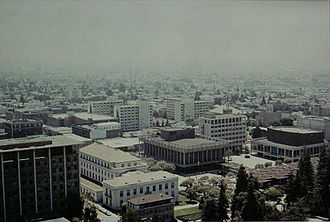 Sproul Plaza - Aerial view of Sproul Plaza from 1978. Zellerbach Hall is on the right, Eshleman Hall in the center, and Sproul Hall is center-left. The student union and Sather Gate are visible in the lower-right corner.