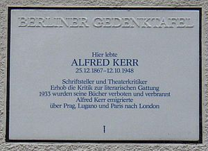 Alfred Kerr - Memorial plaque in Berlin-Grunewald