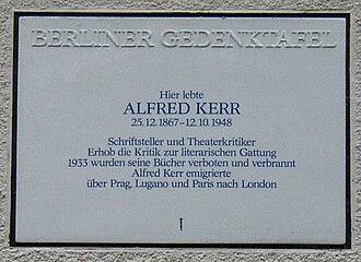Alfred Kerr - Memorial plaque in Berlin-Grunewald