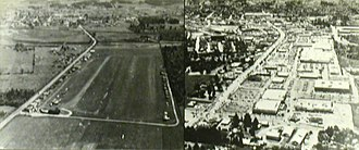Bernard's Airport - Bernard's Airport in the 1930s (looking south) with a 1980s view of the replacement shopping mall