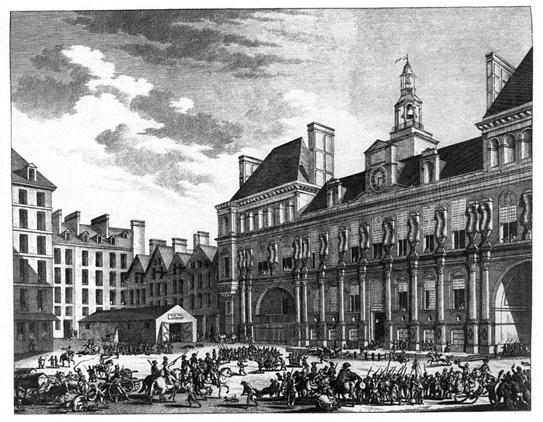 Fichier: Berthault - Das Volk von Paris vor dem Rathaus.jpg