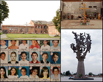 Beslan school siege - A collage depicting School Number One, photos of killed hostages and the Tree of Grief monument