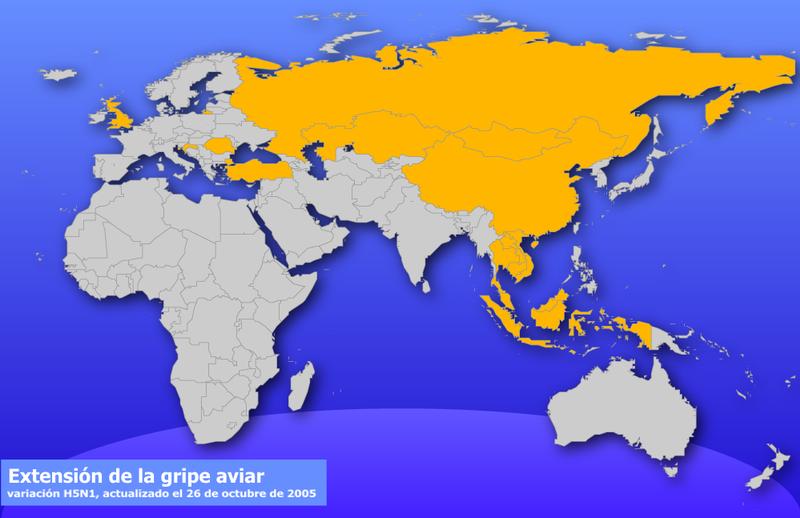 Extensión de la gripe aviaria hasta el 26 de octubre de 2005. No incluye todavía los brotes en Colombia, México y Nigeria.