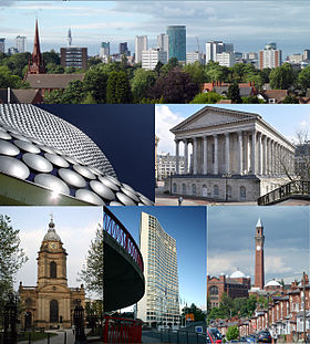 Din stânga sus: Panoramă a Birmingham City Centre de la Edgbaston Cricket Ground; Selfridges in the Bull Ring; Birmingham Town Hall; St Philip's Cathedral; Alpha Tower; University of Birmingham.