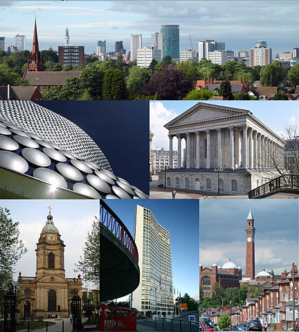 Montage of the city of Birmingham buildings