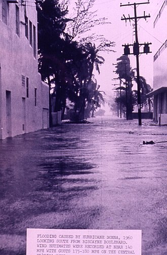 Hurricane Donna - Flooding along Biscayne Boulevard in Miami, Florida