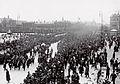 Bjørnsons båre fraktes fra jernbanestasjonen til havna, København, mai 1910. (4534644890).jpg