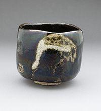Black Raku Teabowl 'Shorei' (Aged Pine) with Crane Design LACMA M.2007.7.2 (2 of 5).jpg