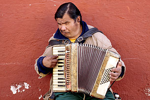 A man playing an accordian