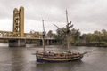 Boat on river in Sacramento, the capital city of the U.S. state of California and the county seat of Sacramento County LCCN2013633906.tif
