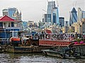 Boats moored off New Concordia Wharf, River Thames 02.jpg