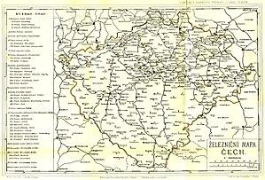 Rail transport in the Czech Republic - Image: Bohemia rail map 1883 Rivnac