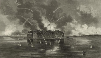 George Edward Perine - Bombardment of Fort Sumter, 1861. George Edward Perine (1837-1885), engraver.